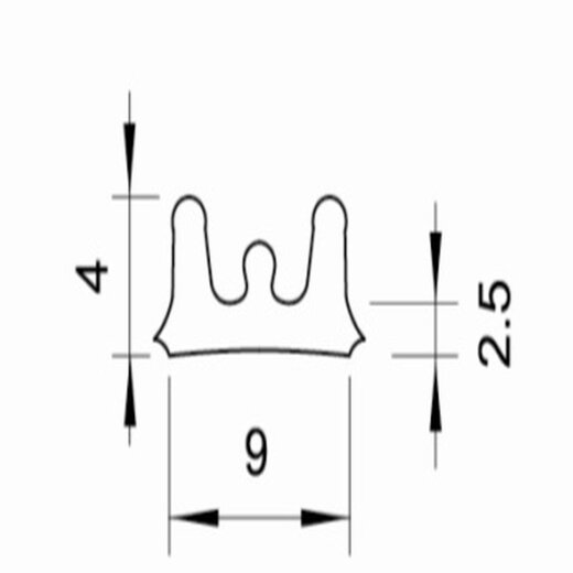 TOP MULTI Fenster- und Türdichtung E-Profil 9mm x 4mm BRAUN Länge 20m