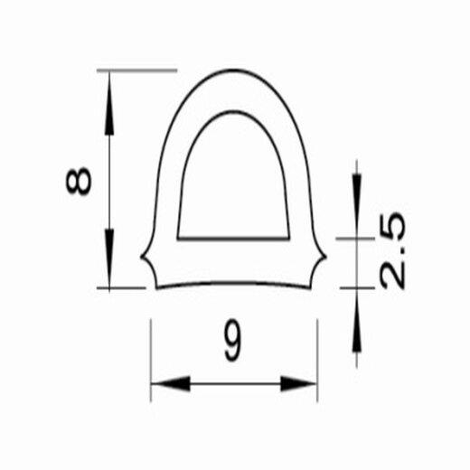 TOP MULTI Fenster- und Türdichtung D-Profil 9mm x 7,5mm BRAUN Länge 20m