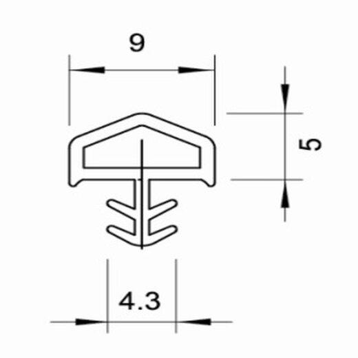 TOP MULTI Türdichtung TPE-12 - Profil SCHWARZ Länge 50m
