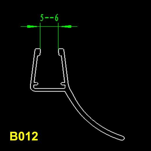 TOP MULTI Duschkabinendichtung B012 für Schwingtüre Boden und Wand 5-6mm Länge 1m